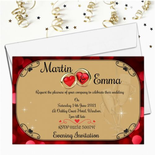 10 Personalised Wedding Heart Rings Invitations Day/Evening N15